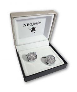 Butoni piatra rotunzi Simply&Delicate argintiu cu cristale mici albe 105451