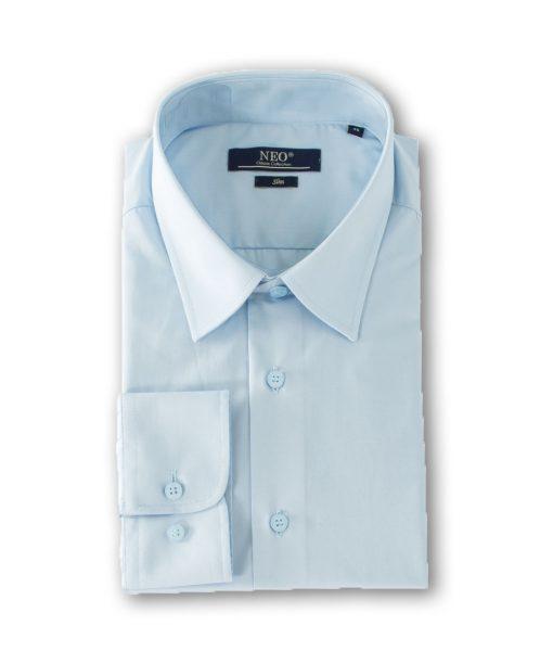 Camasa slim barbati uni cu maneca lunga bleu 6163