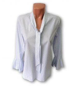 Bluza dama Violeta cu maneca lunga albastru pe fond alb 130527