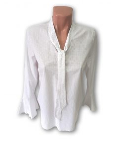 Bluza dama Violeta cu maneca lunga albastru si rosu pe fond alb 130949