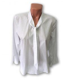 Bluza dama Violeta cu maneca lunga bleumarin si bleu pe fond alb 131143