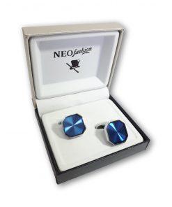 Butoni clasici Blue Octogon argintiu cu albastru 105005