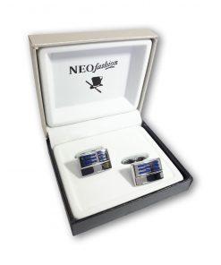 Butoni clasici Blue Stripes argintiu cu albastru 105031