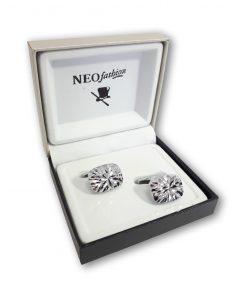 Butoni clasici Diamond Glam 1 argintii 104839