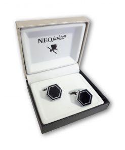 Butoni clasici Hexagon argintiu cu negru 104724
