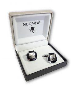 Butoni clasici octogonali Silver&Black argintiu cu negru 104618