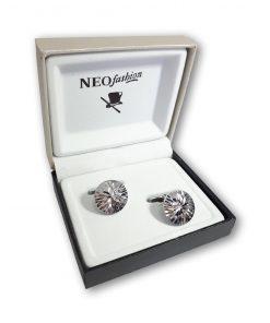 Butoni clasici rotunzi Diamond Glam 2 argintii 105152