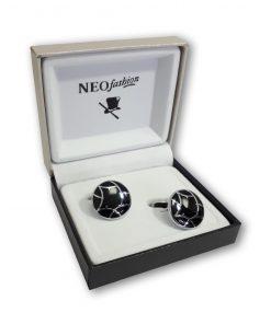 Butoni clasici rotunzi argintiu cu negru 104333