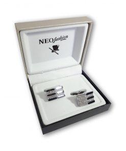 Butoni piatra Simply Elegant argintii cu cristale mici albe 105649