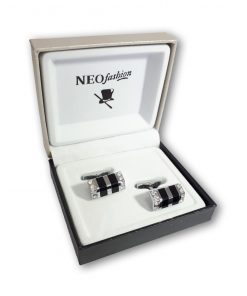 Butoni piatra dreptunghiulari Ellegant 2 argintiu cu negru si cristale albe 105834