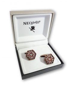 Butoni piatra hexagonali Coppery aramiu cu cristale mici albe 105957