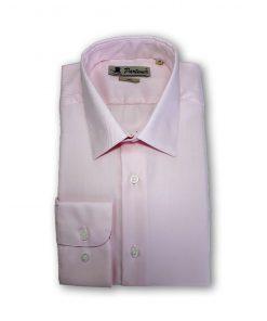 Camasa barbati uni cu textura diagonala si mansete rotunde roz 115233