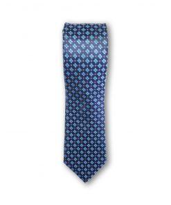 Cravata clasica model floral 01 bleu pe fond bleumarin 123602