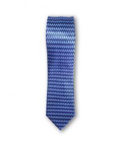 Cravata clasica model geometric 02 bleu pe fond bleumarin 123712