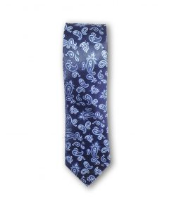 Cravata clasica model paisley bleu pe fond bleumarin 123436