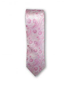 Cravata clasica model paisley roz pe fond roz pal 123458