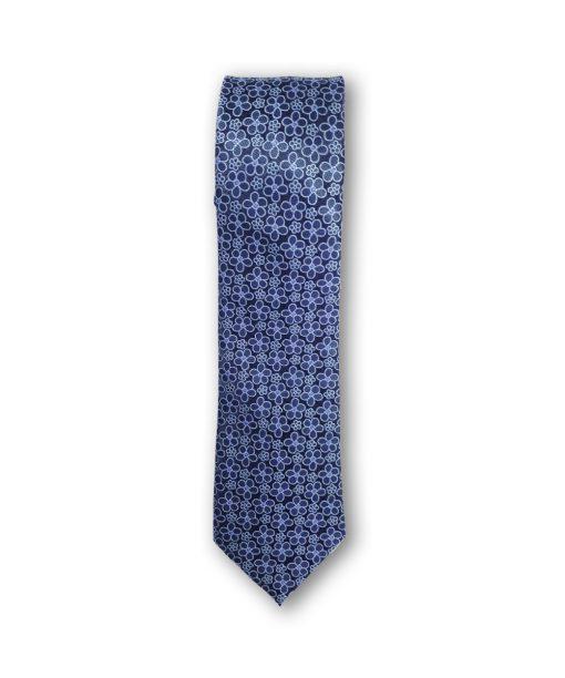 Cravata clasica motiv floral 02 bleu pe fond bleumarin 123728