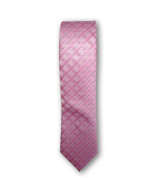 Cravata clasica motiv geometric 01 roz 123620