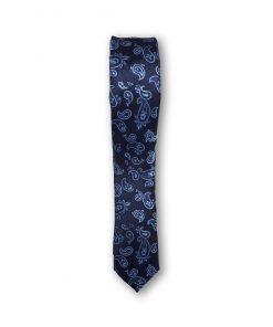 Cravata slim model paisley bleu pe fond bleumarin 122538