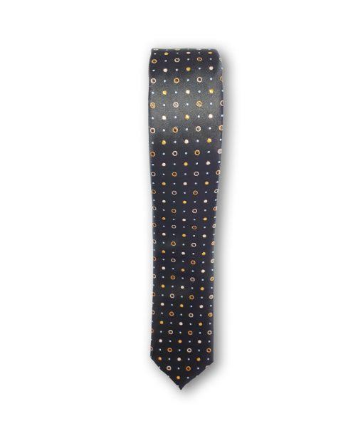 Cravata slim motiv buline maro, auriu si bleu 122915