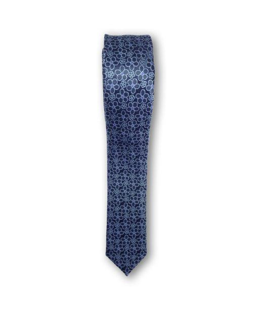 Cravata slim motiv floral 01 bleu pe fond bleumarin 122620