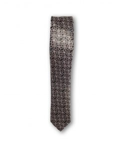 Cravata slim motiv floral 02 maro pe fond bej 122658