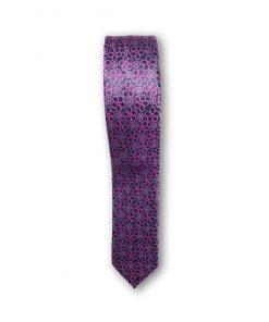 Cravata slim motiv floral 03 mov pe fond lila 122720