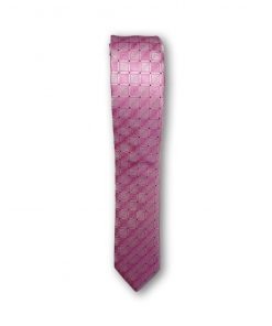 Cravata slim motiv geometric 03 roz 122836